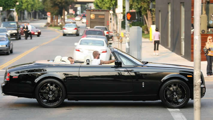 Celebrities and their cars David Beckham customised rolls royce drophead