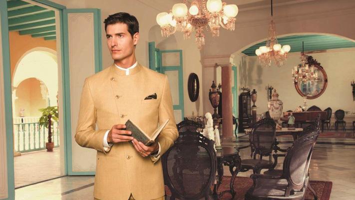 A classic khaki bandhagala suit for festive occasions