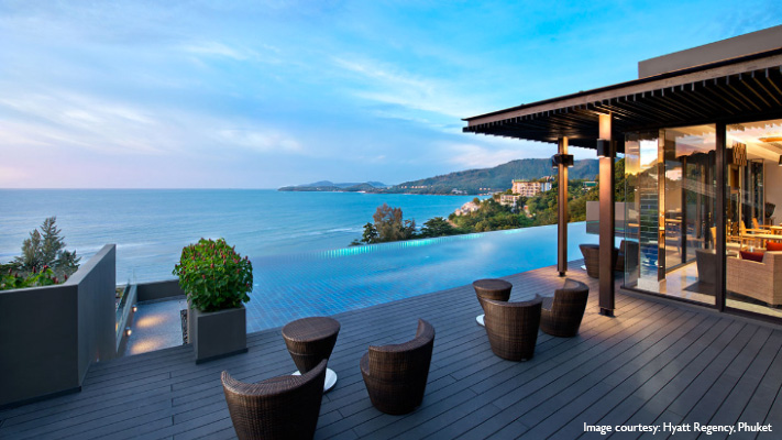 Largest Infinity Pool overlooking Andaman sea At hyatt regency Phuket