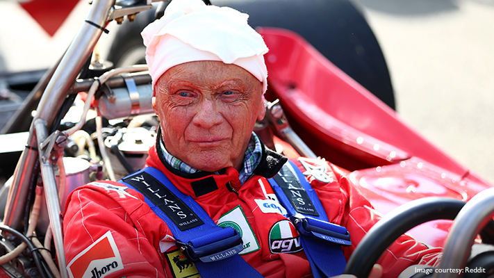 Nikki lauda returns to f1 racing after major accident