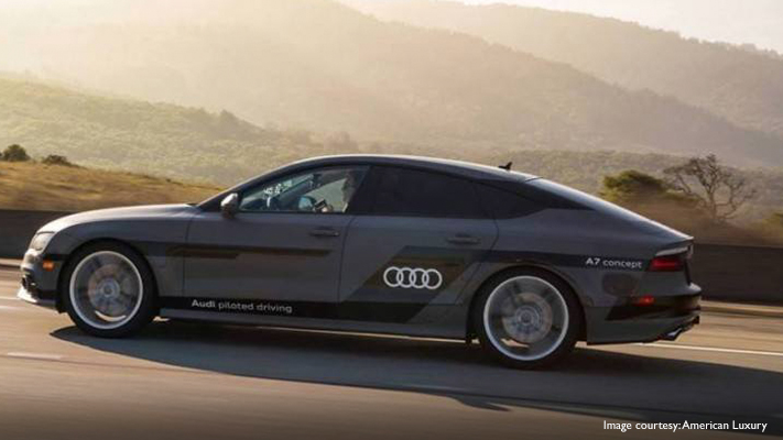 auto piloted audi car cruising at great speed