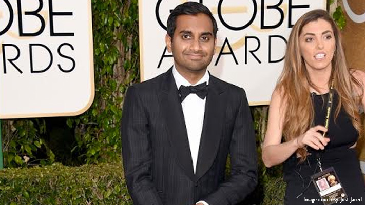 aziz ansari dapper look in checked suit