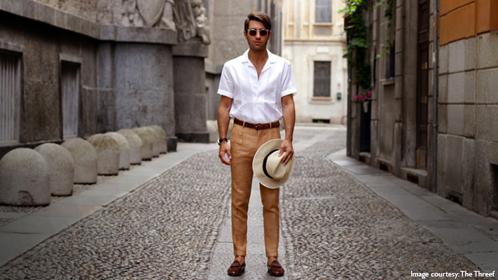 beige trousers for smart casual off duty look