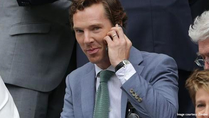 benedict cumberbatch in his stylish textured grey suit at wimbledon