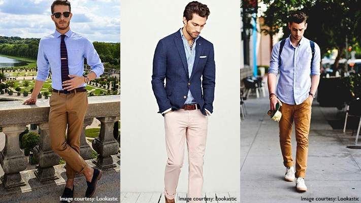 blue shirt and khaki chinos style