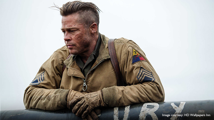 brad pitt fury movie hairstyle