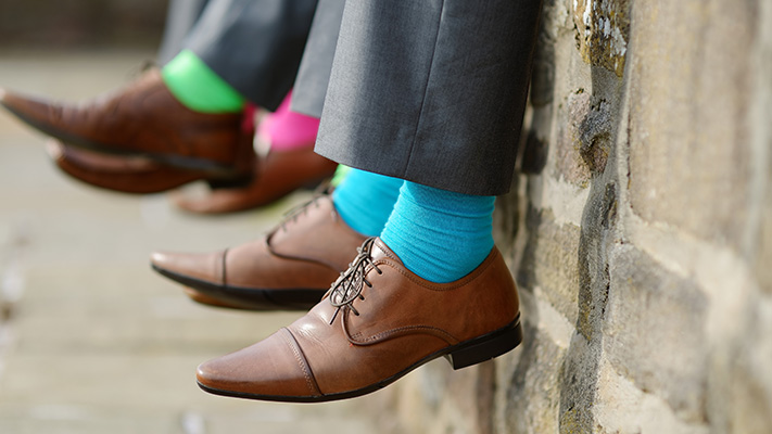 bright solid coloured socks style statement