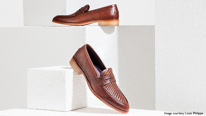 brown textured shoes pair with bandhgala