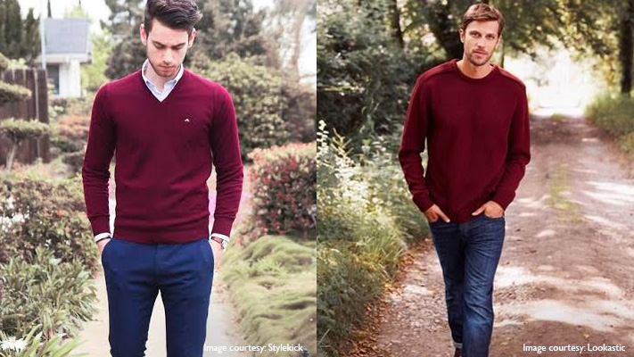 burgundy sweater navy blue pants stylish look