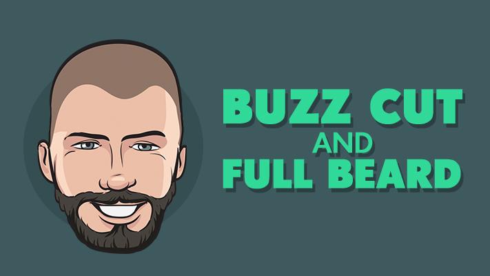 buzz haircut and full beard