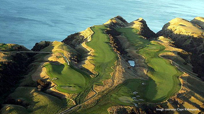 cape kidnappers with amazng view atop hill