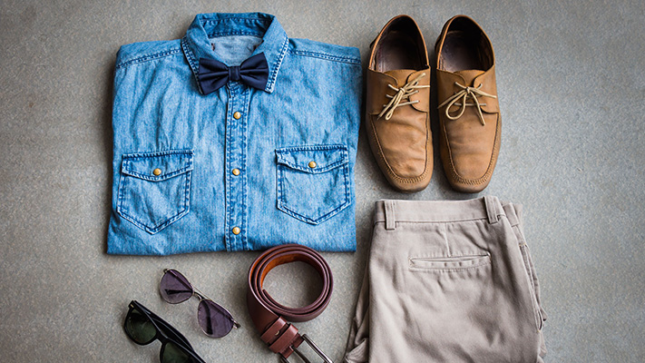 chambray shirt with grey trousers stylish look