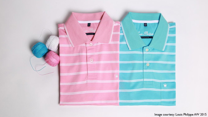 classic blue and pink polo tees pair with blazers