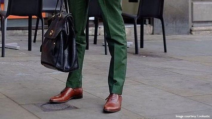 dark green suit matching brown shoes