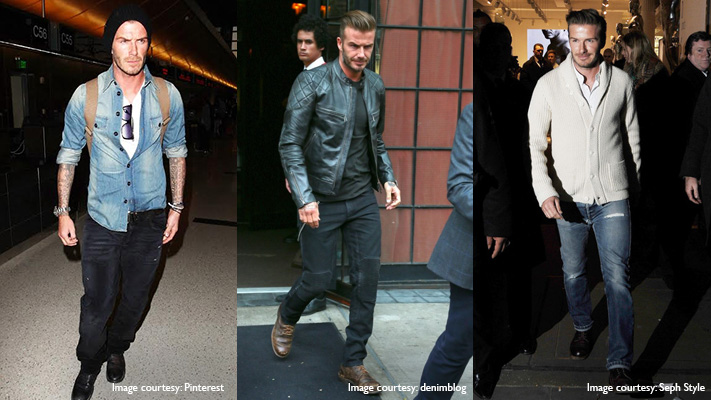 david beckham denim on denim look