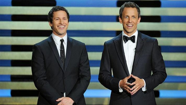 Emmys 2014 hosts Andy Samberg Seth Meyers