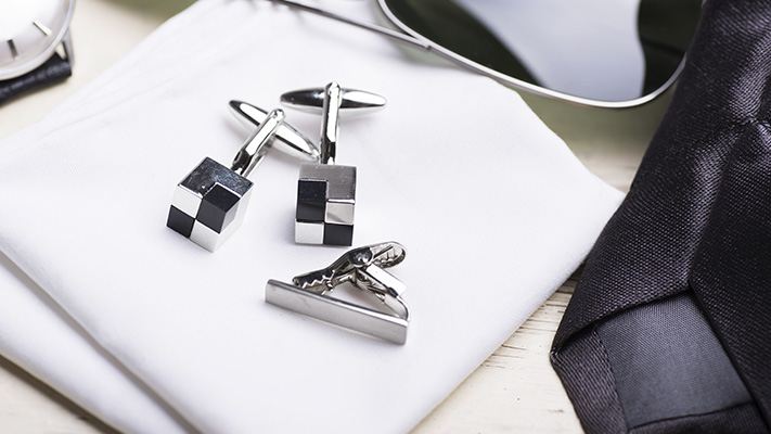 fixed backing cufflink for secure and comfortable fit
