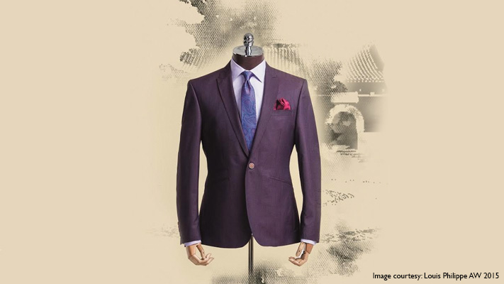 formal purple suit white shirt cohesive look