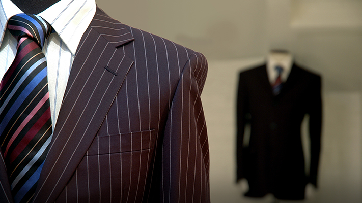 formal strped suit and tie
