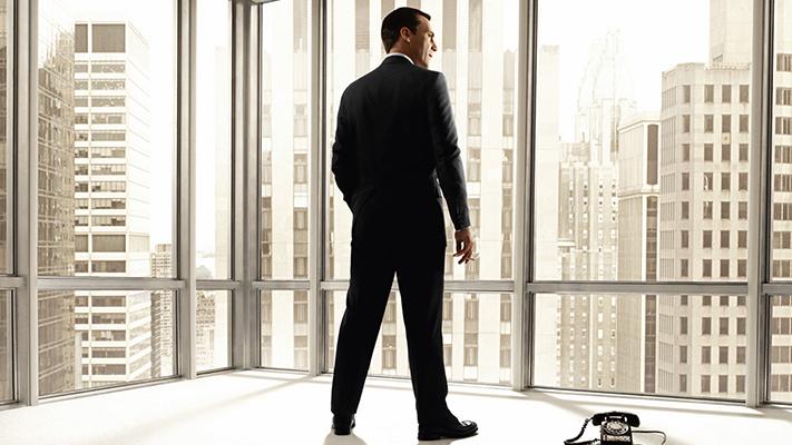 get don draper classy look in grey suit