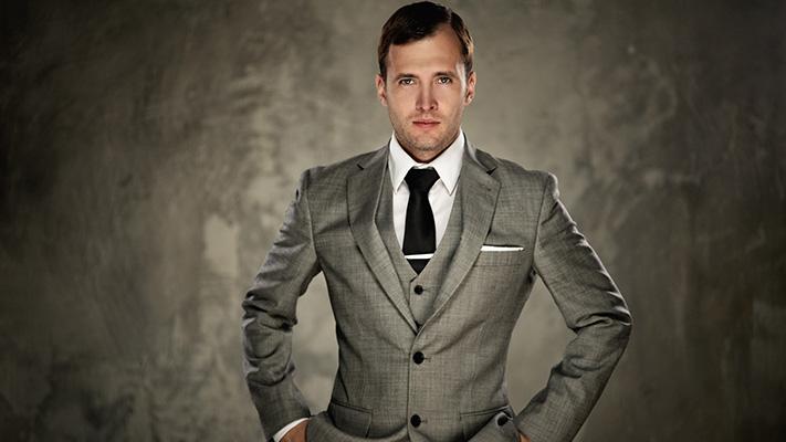 grey winter suit sharp look