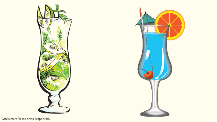 hurricane glasses for tropical cocktails