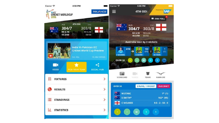 icc world cup 2015 best cricket apps