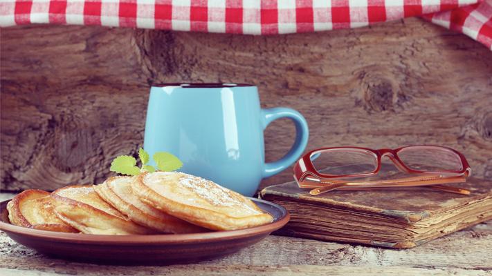 lila café serves appetizing light buttery breakfast with coffee
