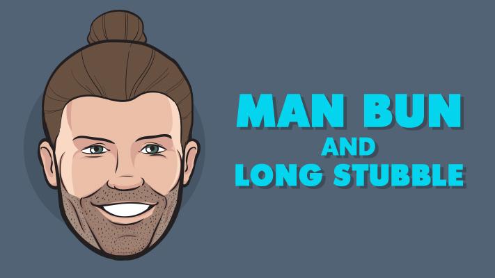 man bun hairstyle and long stubble beard