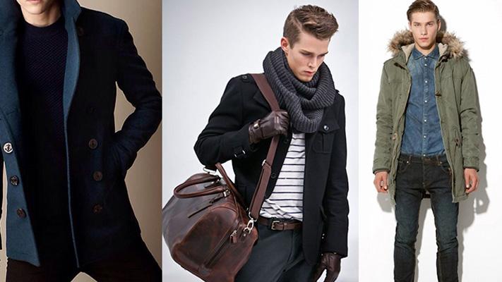 Mens fashion style guide: Pea coat, Duffel bag, Parka