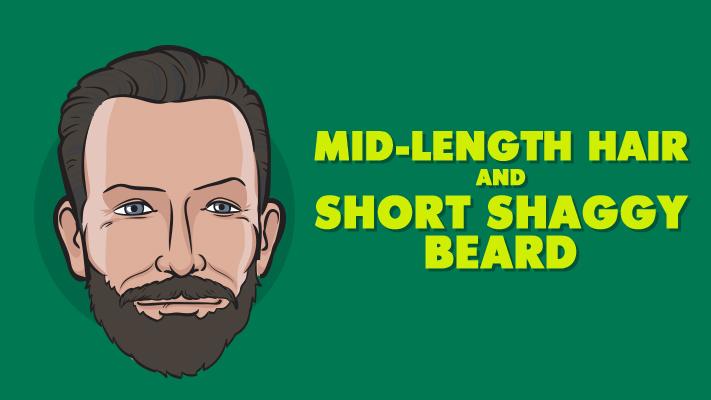 mid length hair with short shaggy beard