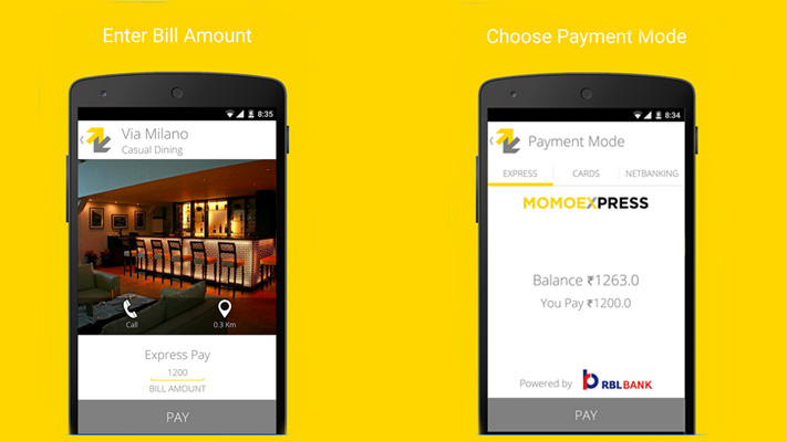 momoe mobile wallet pay restaurant groccery bills