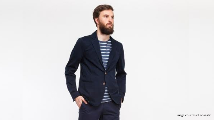 navy jacket casual look