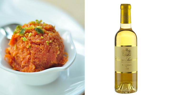 Pair indian desserts gajar ka halwa french sauternes wines