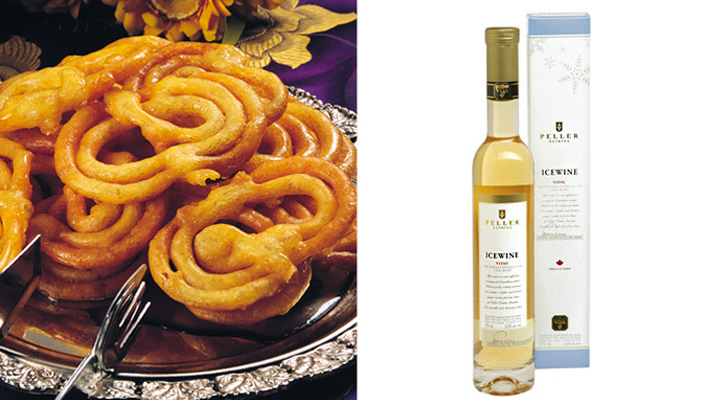 Pair jalebi and ice wine from canada