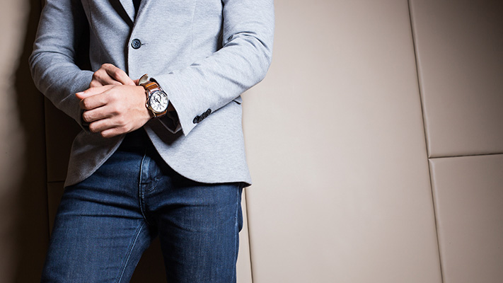 pair your formal freysuit with denim for perfect casual look