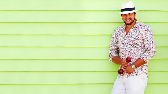 panama hat printed shirt stylish outfit