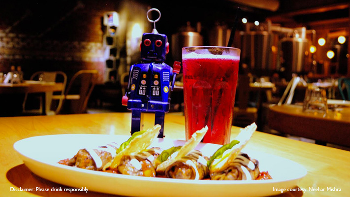 pink beer paired with eggplant involtini