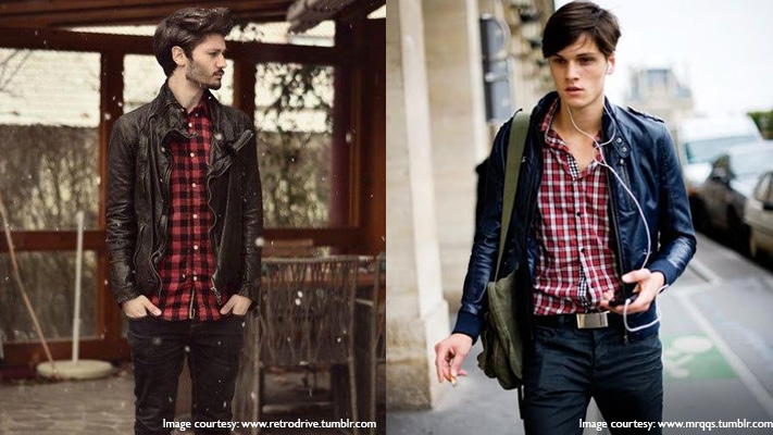 plaid shirt with leather jacket winter style fashion