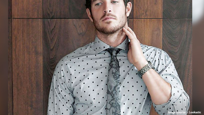 polka dotted shirt with tie