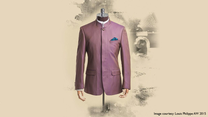 purple bandhgala with mandarin collar shirt