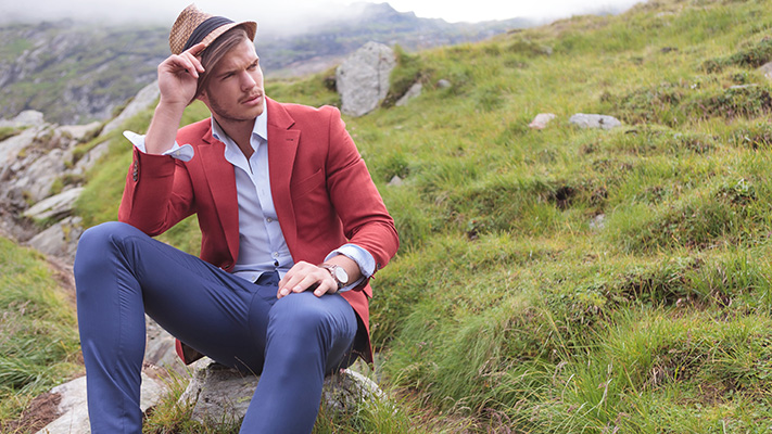 red blazer blue trousers classic combination