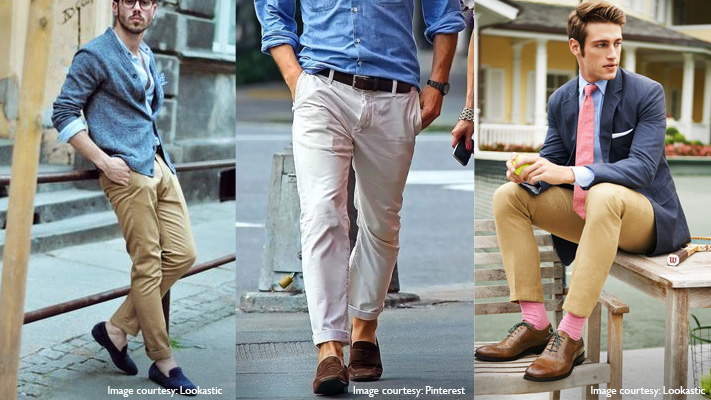 smart casual combination with pastel blue shirt and khaki