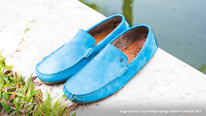 sporty blue loafers