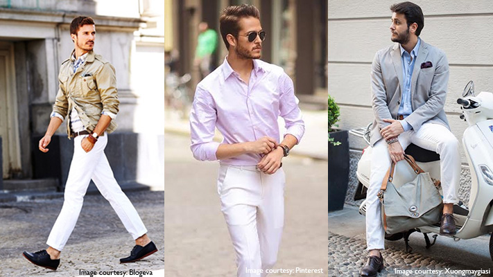 stylish outfits with white trousers