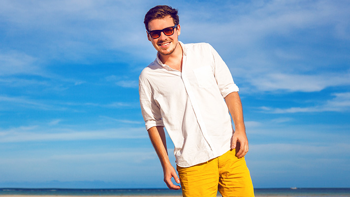 stylish shorts enjoy at beach