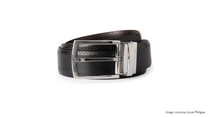textured black coloured belt for casual appeal