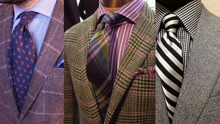 Mixing patterns checks stripes suits