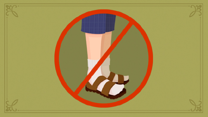 why not to wear sandals with socks